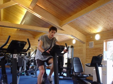 Sweating in the Benetton gym: Being fairly fit was a blessing when I got the Benetton test call up, and it was something I worked hard on later.