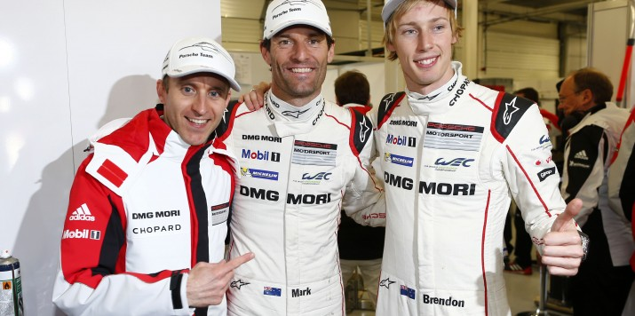 Porsche Team: Timo Bernhard, Mark Webber, Brendon Hartley (l-r)