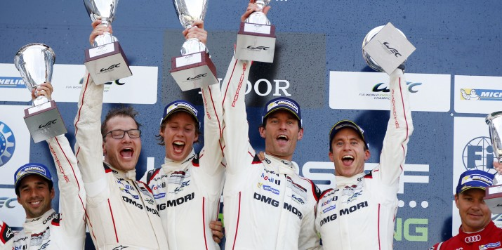 Andreas Seidl, Teamchef Porsche Team, Brendon Hartley, Mark Webber, Timo Bernhard (l-r)