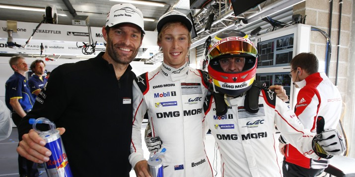 Porsche Team: Mark Webber, Brendon Hartley, Timo Bernhard (l-r)