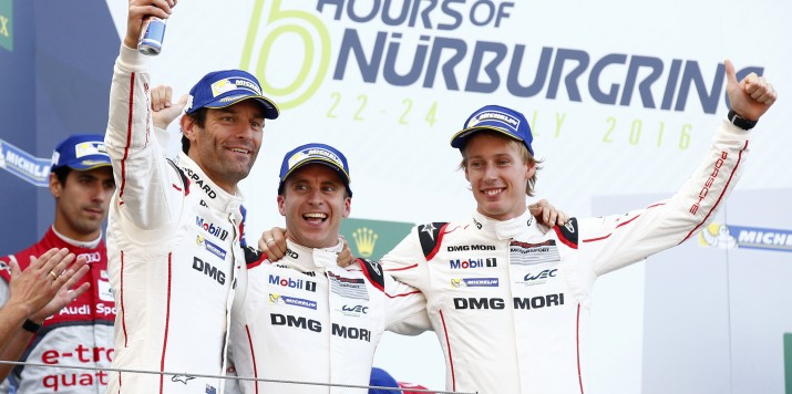Porsche Team: Mark Webber, Timo Bernhard, Brendon Hartley (l-r)