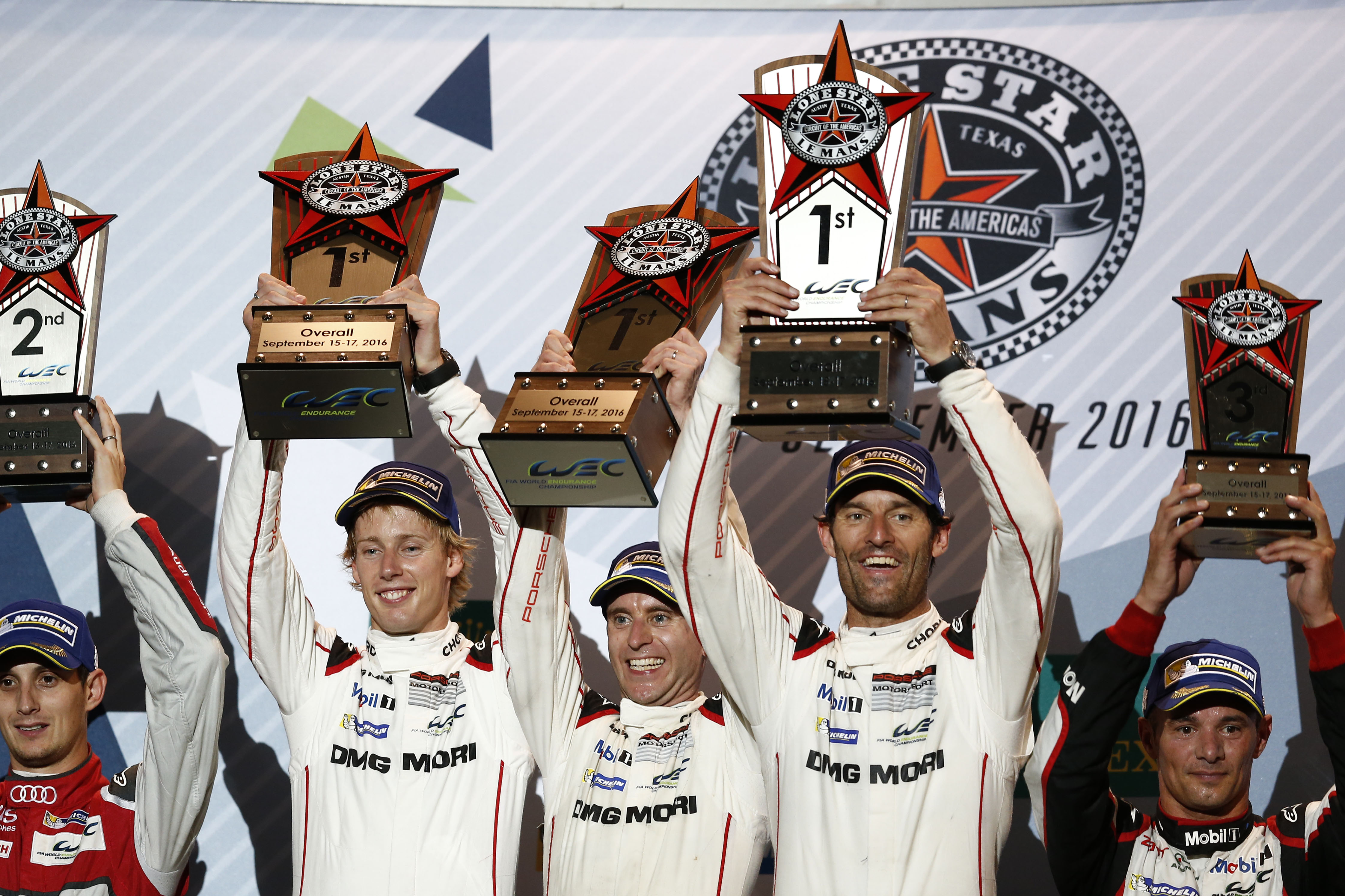 Porsche Team: Brendon Hartley, Timo Bernhard, Mark Webber (l-r)